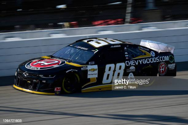Alex Bowman driver of the ChevyGoodscom/Adam's Polishes Chevrolet drives during the NASCAR Cup Series FireKeepers Casino 400 at Michigan...