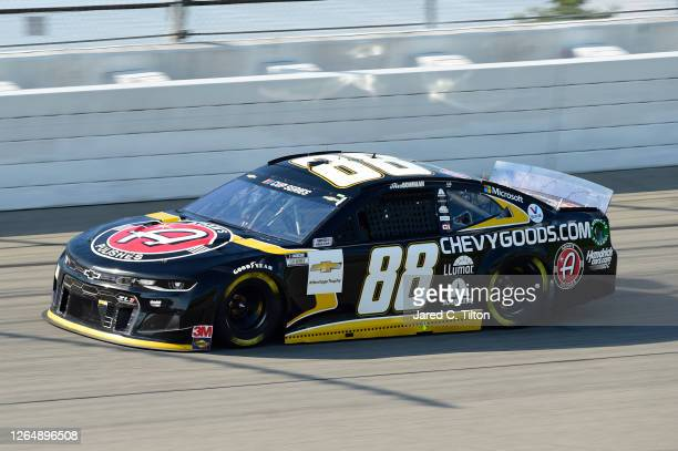Alex Bowman driver of the ChevyGoodscom/Adam's Polishes Chevrolet drives during the NASCAR Cup Series Consumers Energy 400 at Michigan International...