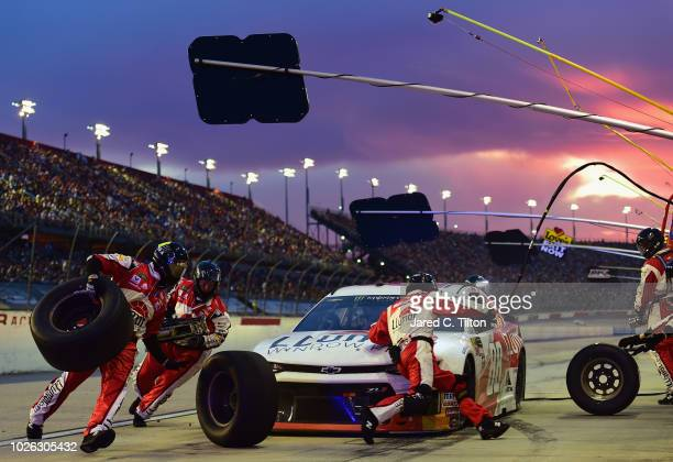 Alex Bowman driver of the LLumar Chevrolet pits during the Monster Energy NASCAR Cup Series Bojangles' Southern 500 at Darlington Raceway on...