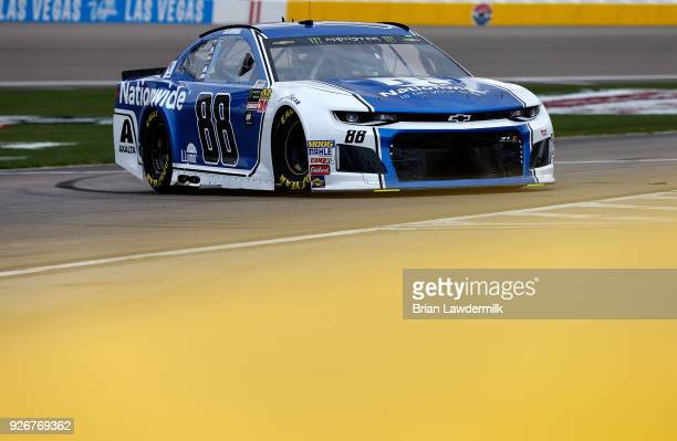 Alex Bowman driver of the Nationwide Chevrolet drives during practice for the Monster Energy NASCAR Cup Series Pennzoil 400 presented by Jiffy Lube...