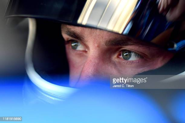 Alex Bowman driver of the Nationwide Chevrolet looks on during practice for the Monster Energy NASCAR Cup Series Hollywood Casino 400 at Kansas...