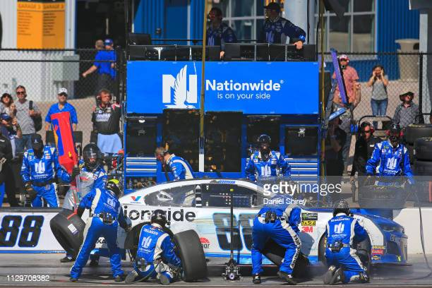 Alex Bowman driver of the Nationwide Chevrolet pits during the Monster Energy NASCAR Cup Series TicketGuardian 500 at ISM Raceway on March 10 2019 in...