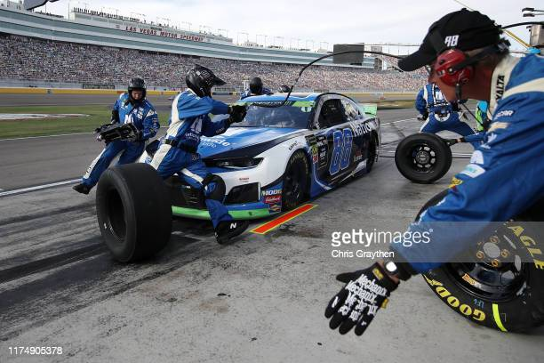 Alex Bowman driver of the Nationwide Chevrolet pits during the Monster Energy NASCAR Cup Series South Point 400 at Las Vegas Motor Speedway on...