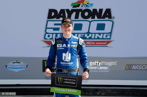 Alex Bowman driver of the Nationwide Chevrolet poses for a photo after winning the Pole Award during qualifying for the Monster Energy NASCAR Cup...