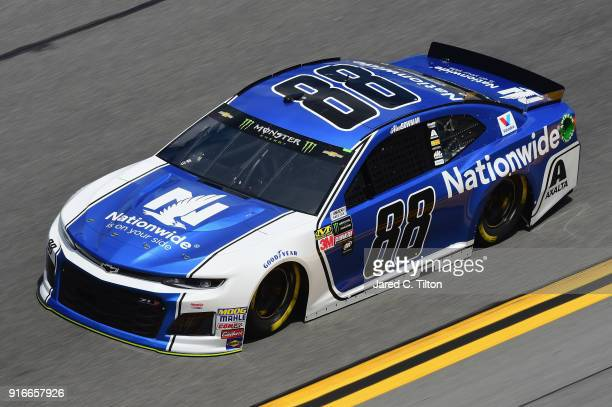 Alex Bowman driver of the Nationwide Chevrolet practices for the Monster Energy NASCAR Cup Series Daytona 500 at Daytona International Speedway on...