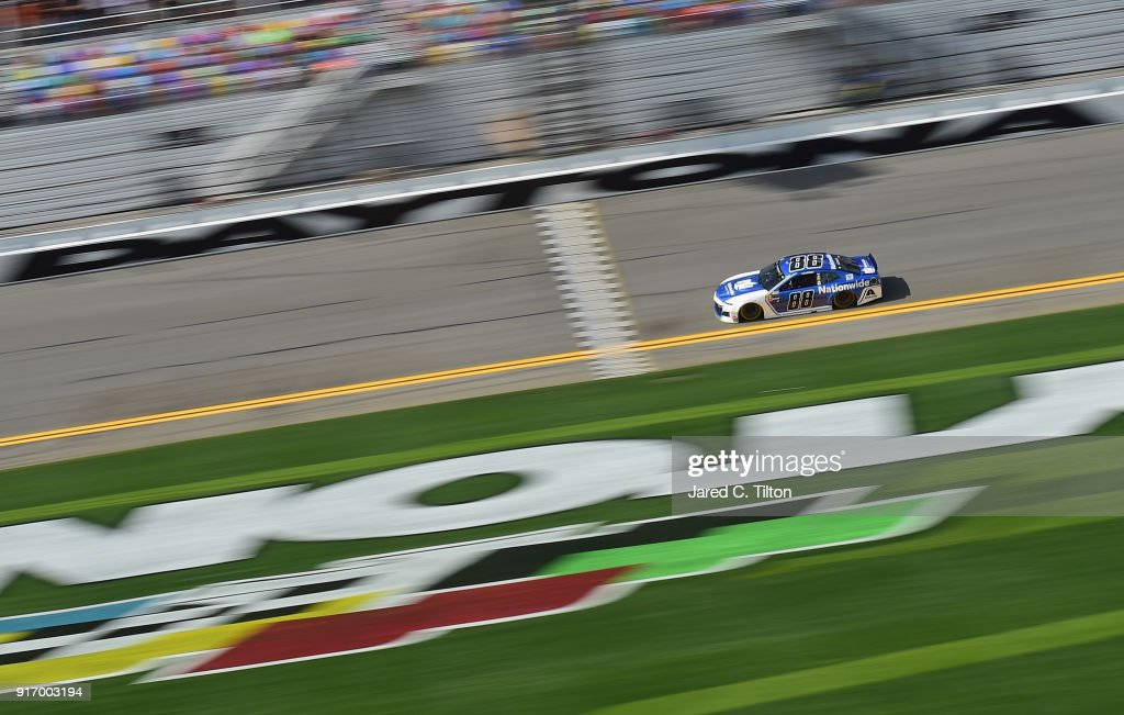 Alex Bowman, driver of the #88 Nationwide Chevrolet, qualifies on the pole with a time of 46.002 seconds and a speed of 195.644 mph for the Monster Energy NASCAR Cup Series Daytona 500 at Daytona International Speedway on February 11, 2018 in Daytona Beach, Florida.