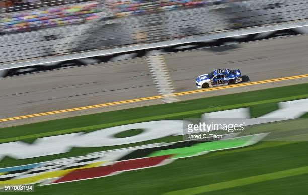 Alex Bowman driver of the Nationwide Chevrolet qualifies on the pole with a time of 46002 seconds and a speed of 195644 mph for the Monster Energy...