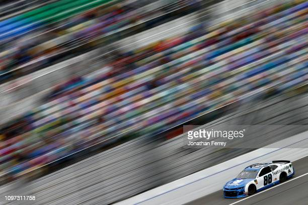 Alex Bowman driver of the Nationwide Chevrolet races during the Monster Energy NASCAR Cup Series Advance Auto Parts Clash at Daytona International...