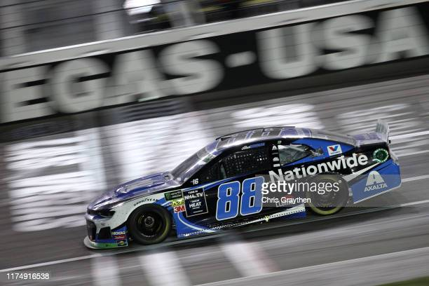 Alex Bowman driver of the Nationwide Chevrolet races during the Monster Energy NASCAR Cup Series South Point 400 at Las Vegas Motor Speedway on...