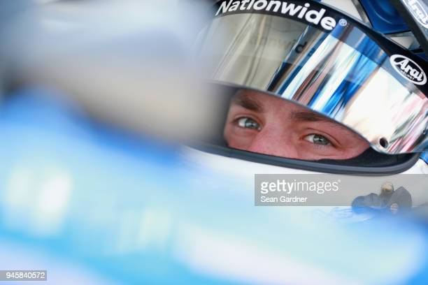 Alex Bowman driver of the Nationwide Chevrolet sits in his car during practice for the Monster Energy NASCAR Cup Series Food City 500 at Bristol...