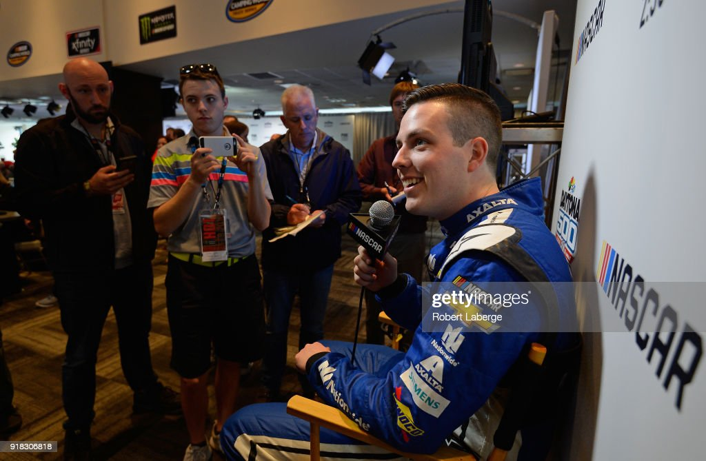 Alex Bowman, driver of the #88 Nationwide Chevrolet, talks to the media during the Daytona 500 Media Day at Daytona International Speedway on February 14, 2018 in Daytona Beach, Florida.