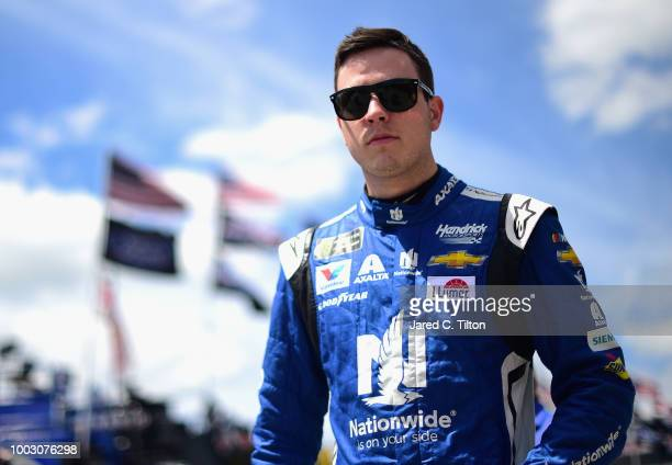 Alex Bowman driver of the Nationwide Chevrolet walks through the garage area during practice for the Monster Energy NASCAR Cup Series Foxwoods Resort...