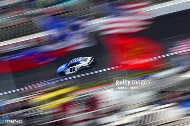Alex Bowman driver of the Nationwide Retirement Plans Chevrolet practices for the Monster Energy NASCAR Cup Series Bank of America ROVAL 400 at...