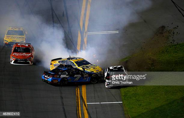 Alex Bowman driver of the Toy State/Nikko Chevrolet Austin Dillon driver of the DOW Chevrolet and Sam Hornish Jr driver of the Twisted Tea Ford are...