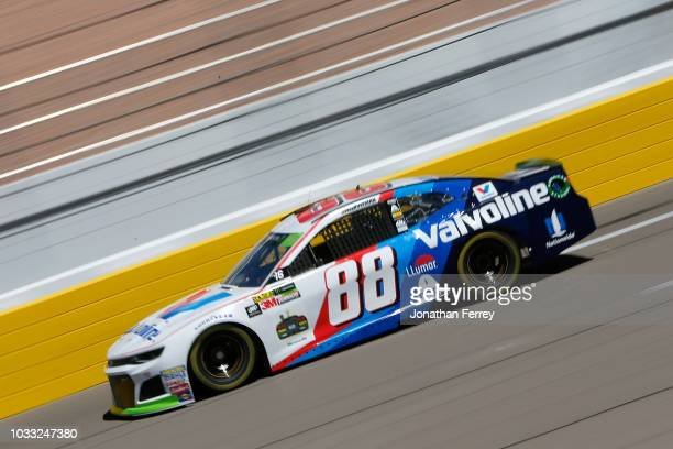 Alex Bowman driver of the Valvoline Chevrolet drives during practice for the Monster Energy NASCAR Series South Point Hotel and Casino 400 at Las...