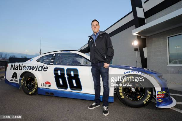 Alex Bowman poses with his car during the Nationwide 2019 Paint Scheme Reveal at GoPro Motorplex on December 6 2018 in Mooresville North Carolina