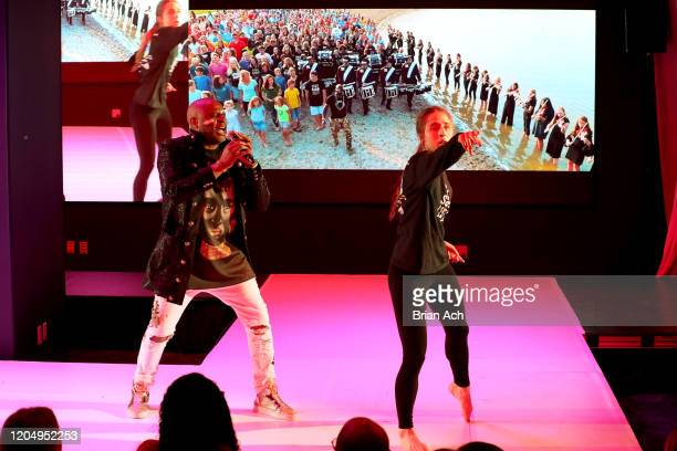 Alex Boyé and Madison Lynch perform onstage for American Foundation for Suicide Prevention during NYFW Powered By hiTechMODA on February 08 2020 in...