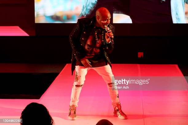 Alex Boyé performs onstage on behalf of the American Foundation for Suicide Prevention during NYFW Powered By hiTechMODA on February 08 2020 in New...