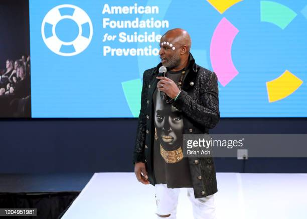 Alex Boyé speaks onstage for American Foundation for Suicide Prevention during NYFW Powered By hiTechMODA on February 08, 2020 in New York City.
