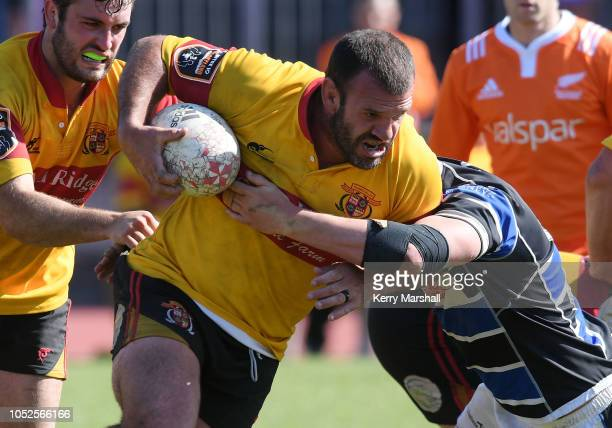 Alex Bradley of Thames Valley in action during the Heartland Championship Meads Cup Semi Final match between Wanganui and Thames Valley on October 20...