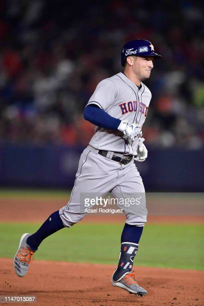 Alex Bregman, #2 of the Houston Astros, runs the bases after hitting a home run and producing three runs on the eight inning of the Houston Astros vs...
