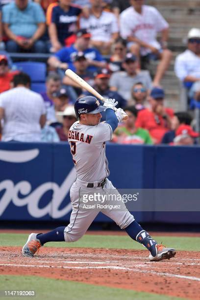 Alex Bregman, #2 of the Houston Astros, scores a grand slam on the fifth inning of the Houston Astros vs Los Angeles Angels of Anaheim match as part...