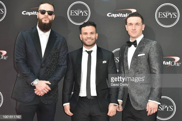 Alex Bregman Dallas Keuchel and Jose Altuve attend The 2018 ESPYS at Microsoft Theater on July 18 2018 in Los Angeles California
