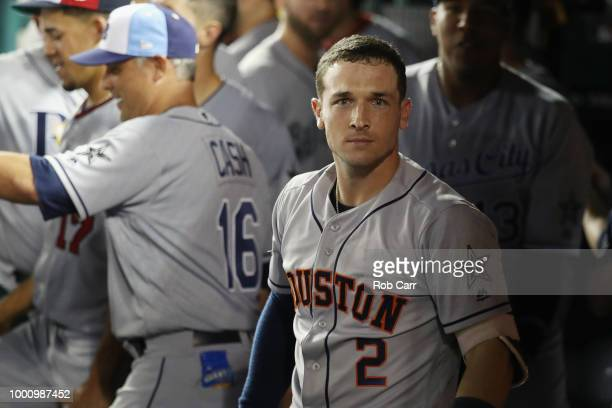 Alex Bregman of the Houston Astros and the American League celebrates after hitting a solo home run in the tenth inning against the National League...