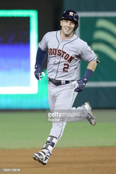 Alex Bregman of the Houston Astros and the American League celebrates as he rounds the bases during the 89th MLB AllStar Game presented by Mastercard...