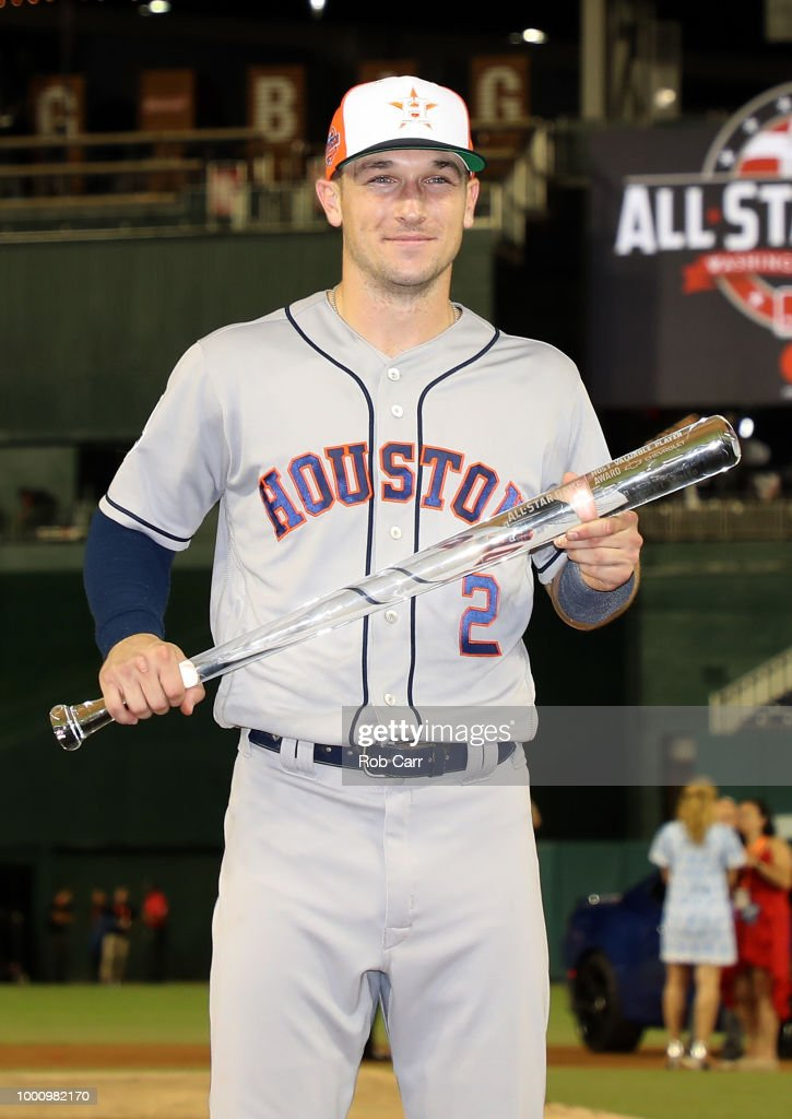 Alex Bregman #2 of the Houston Astros and the American League poses with the MVP trophy after defeating the National League during the 89th MLB All-Star Game, presented by Mastercard at Nationals Park on July 17, 2018 in Washington, DC. The American League defeated the National League 8-6.