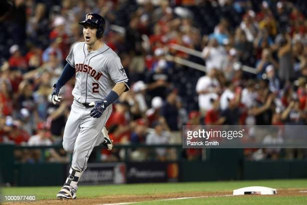Alex Bregman of the Houston Astros and the American League rounds the bases after hitting a solo home run in the tenth inning against the National...