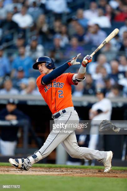Alex Bregman of the Houston Astros at bat against the New York Yankees during the fourth inning at Yankee Stadium on May 30 2018 in the Bronx borough...