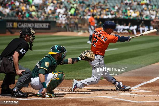 Alex Bregman of the Houston Astros at bat against the Oakland Athletics before the game at the Oakland Coliseum on August 19 2018 in Oakland...