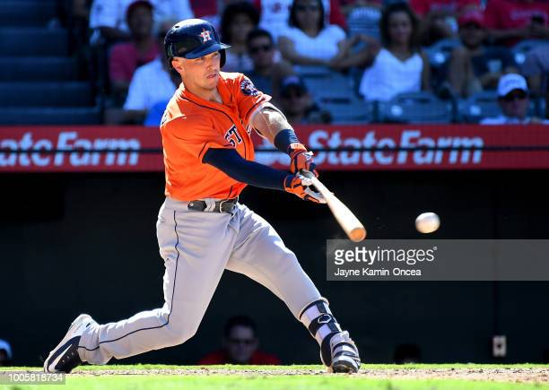 Alex Bregman of the Houston Astros at bat in the game against the Los Angeles Angels of Anaheim at Angel Stadium on July 22 2018 in Anaheim California