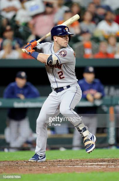 Alex Bregman of the Houston Astros bats against the Baltimore Orioles at Oriole Park at Camden Yards on September 28 2018 in Baltimore Maryland
