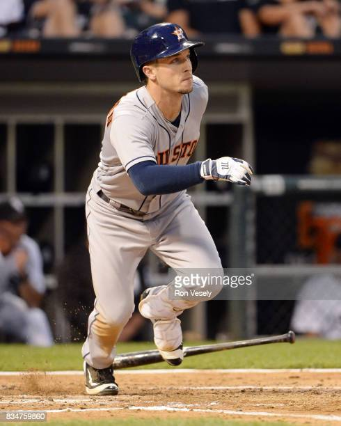 Alex Bregman of the Houston Astros bats against the Chicago White Sox on August 8 2017 at Guaranteed Rate Field in Chicago Illinois