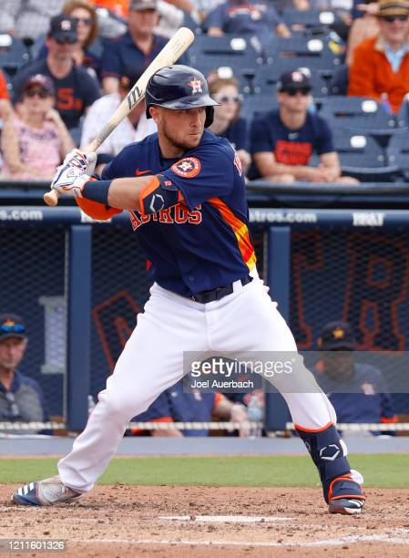 Alex Bregman of the Houston Astros bats against the Detroit Tigers during a spring training game at the FITTEAM Ballpark of the Palm Beaches on March...