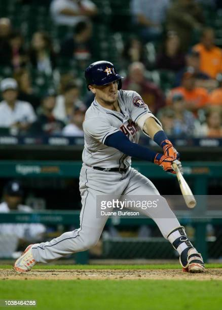 Alex Bregman of the Houston Astros bats against the Detroit Tigers at Comerica Park on September 11 2018 in Detroit Michigan