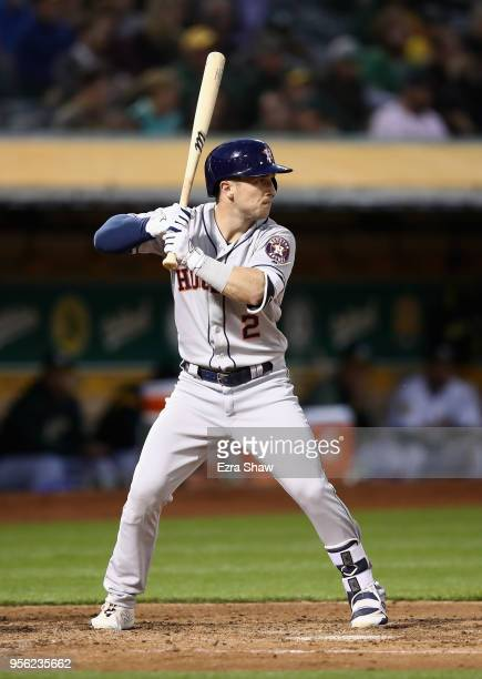 Alex Bregman of the Houston Astros bats against the Oakland Athletics at Oakland Alameda Coliseum on May 7 2018 in Oakland California