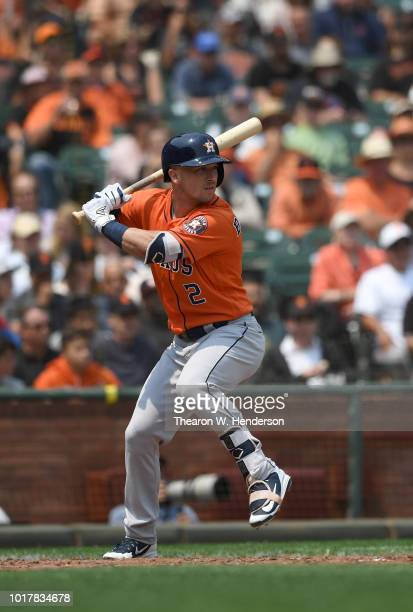 Alex Bregman of the Houston Astros bats against the San Francisco Giants in the top of the fifth inning at ATT Park on August 7 2018 in San Francisco...