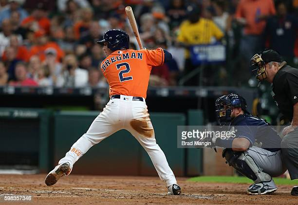 Alex Bregman of the Houston Astros bats against the Tampa Bay Rays during the game at Minute Maid Park on Friday August 26 2016 in Houston Texas