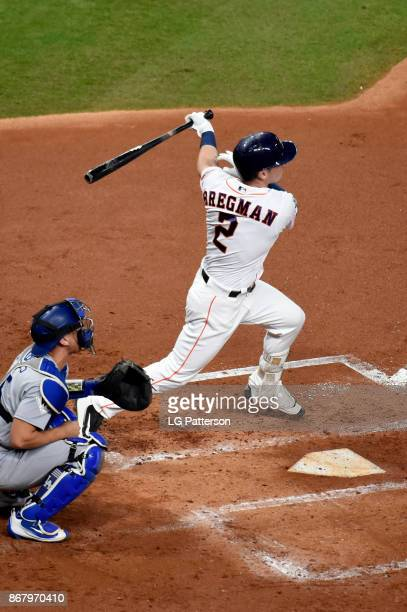 Alex Bregman of the Houston Astros bats during Game 5 of the 2017 World Series against the Los Angeles Dodgers at Minute Maid Park on Sunday October...