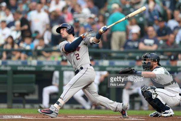 Alex Bregman of the Houston Astros bats during the game against the Seattle Mariners at Safeco Field on August 21 2018 in Seattle Washington The...