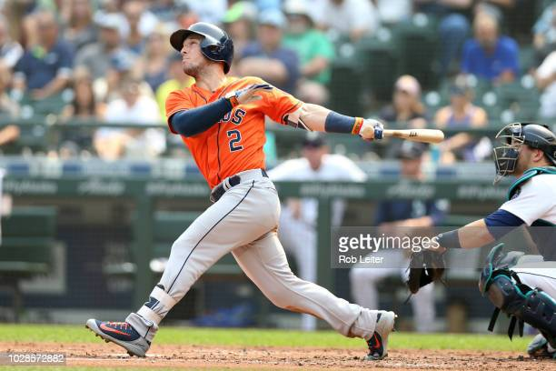 Alex Bregman of the Houston Astros bats during the game against the Houston Astros at Safeco Field on August 22 2018 in Seattle Washington The Astros...