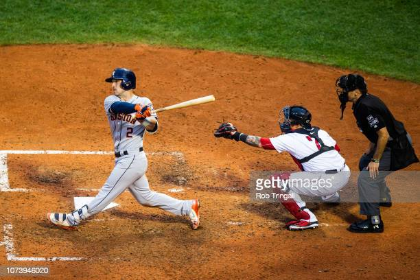 Alex Bregman of the Houston Astros bats during the game against the Boston Red Sox at Fenway Park on Saturday September 8 2018 in Boston Massachusetts