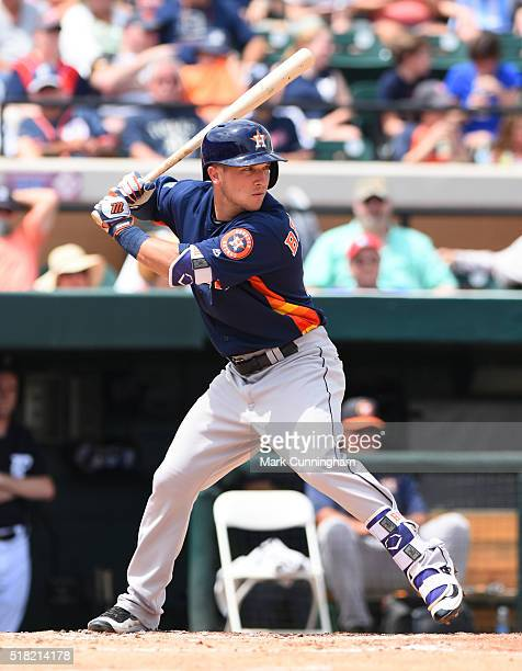 Alex Bregman of the Houston Astros bats during the Spring Training game against the Detroit Tigers at Joker Marchant Stadium on March 27 2016 in...