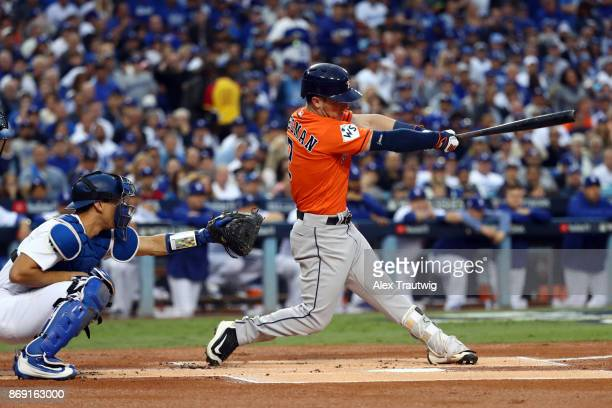 Alex Bregman of the Houston Astros bats in the first inning during Game 7 of the 2017 World Series against and the Los Angeles Dodgers at Dodger...
