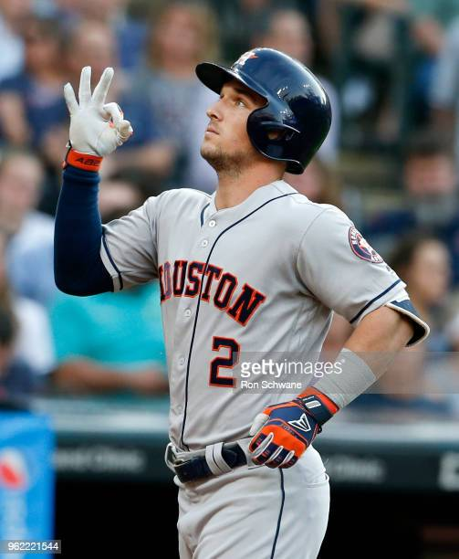Alex Bregman of the Houston Astros celebrates after hitting a threerun home run off starting pitcher Mike Clevinger of the Cleveland Indians during...