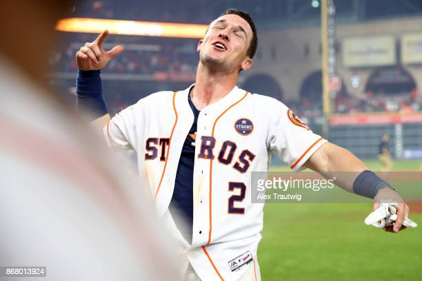 Alex Bregman of the Houston Astros celebrates after hitting the gamewinning RBI single to defeat the Los Angeles Dodgers in Game 5 of the 2017 World...