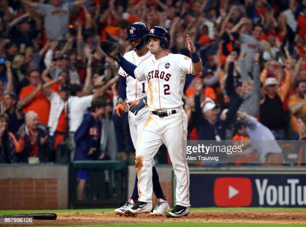 Alex Bregman of the Houston Astros celebrates after scoring in the seventh inning of Game 5 of the 2017 World Series against the Los Angeles Dodgers...